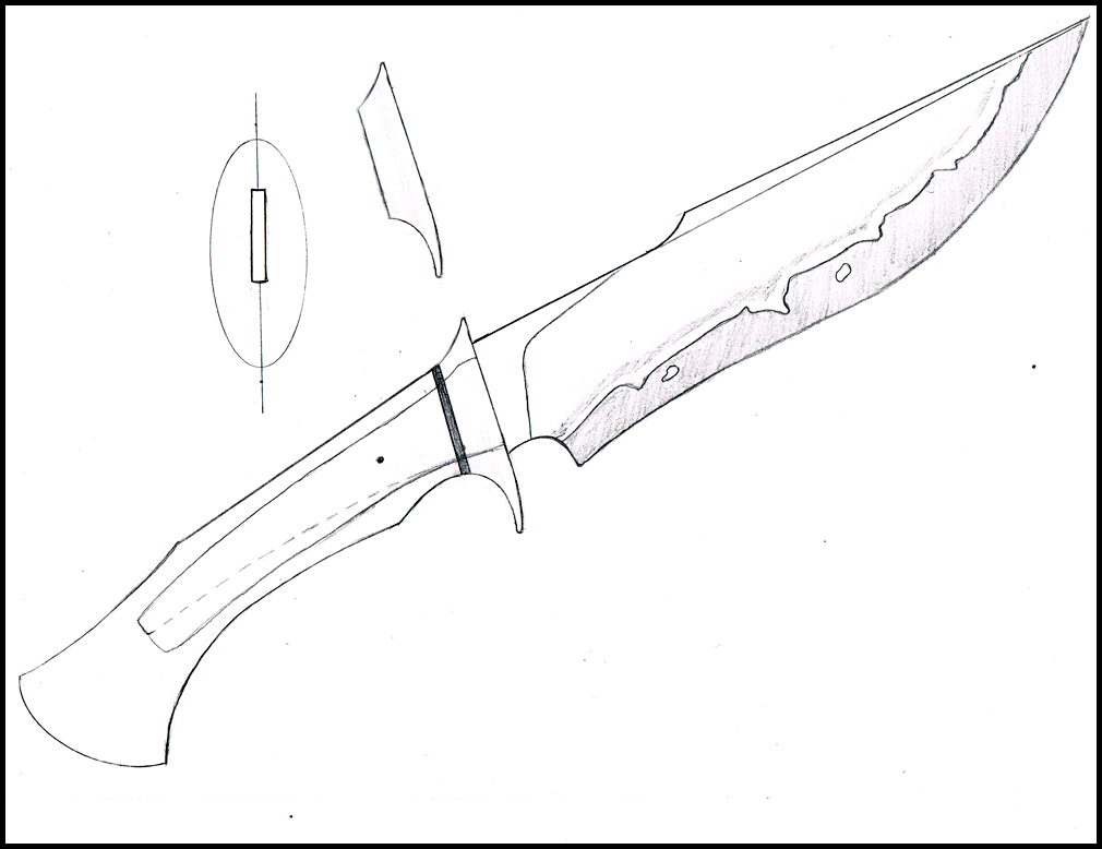 Line Drawing Knife : Hunting knife drawing at getdrawings free for