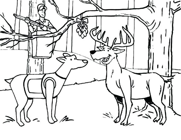 600x463 Mistletoe Coloring Page Hunting Deer And A Dog Under The Mistletoe