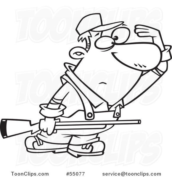 581x600 Outlined Cartoon Farmer Or Hunter Shielding His Eyesnd Holding