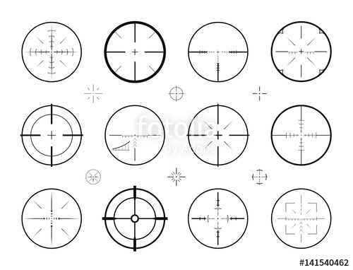 500x382 Target, Sight Sniper Set Of Icons. Hunting, Rifle Scope, Crosshair