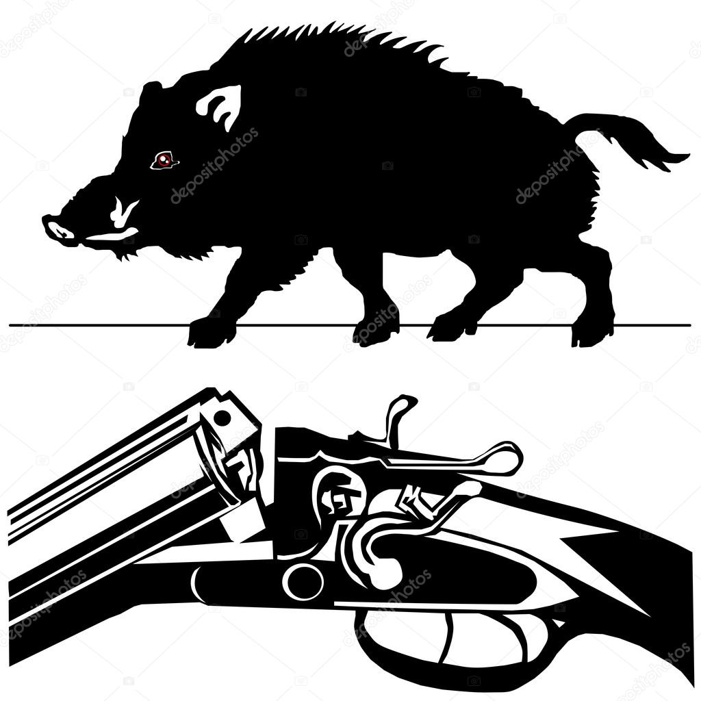 1024x1024 Hunting Rifle Wild Boar Pig Black Silhouette White Background Ve