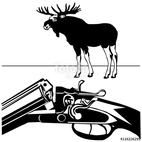 500x500 Hunting Rifle Wild Moose Black Silhouette White Background Vecto