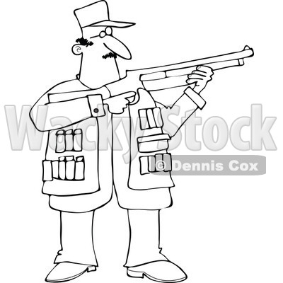 400x400 Of An Outlined Hunting Man Using A Shotgun