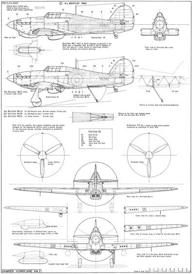 394x563 A. L. Bentley Drawings Hawker Hurricane Mk.i