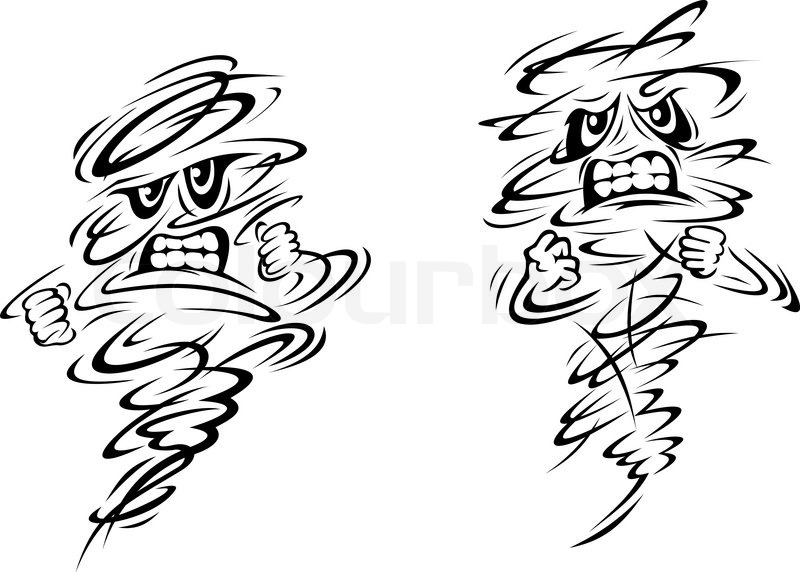 800x572 Angry Tornado And Hurricane Characters On White, Vector Doodle