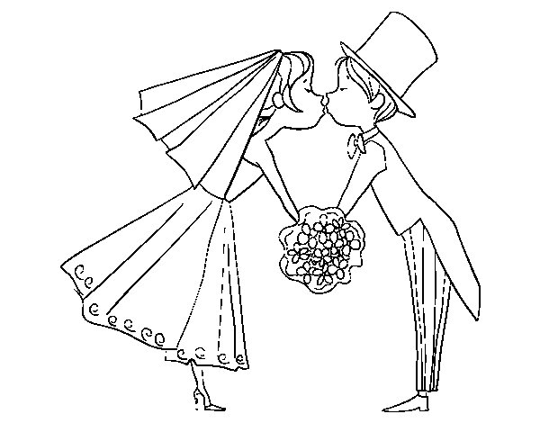600x470 Husband And Wife Kissing Coloring Page