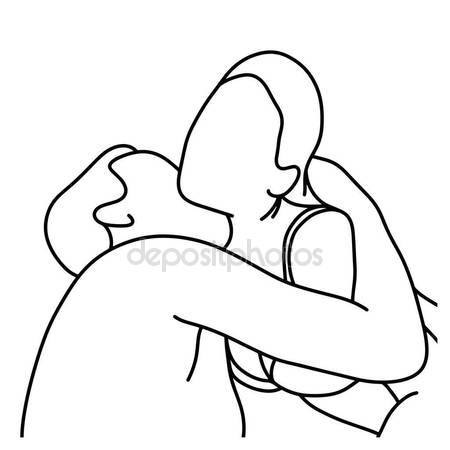 450x450 Outline Husband Kissing His Wife On Her Neck Vector Illustration