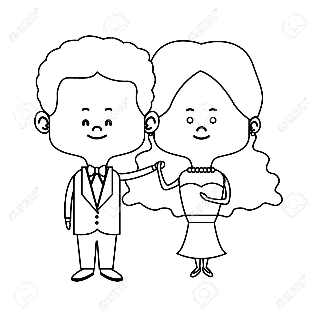 1300x1300 Cute Couple Husband Wife In Wedding Suit Happy Together Vector