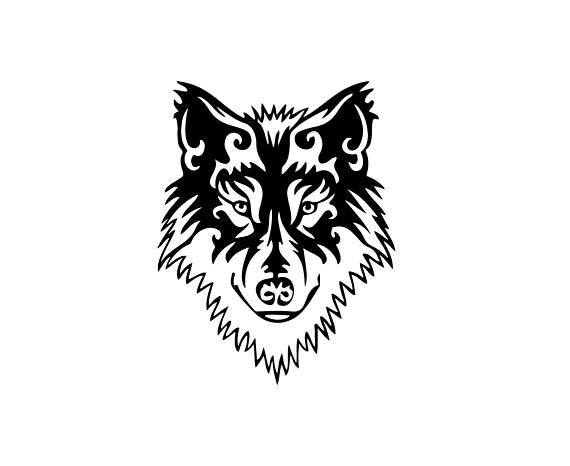 570x466 Tribal Wold Face Download, Unique Animal Svg, Dxf, Eps, Ai, Png