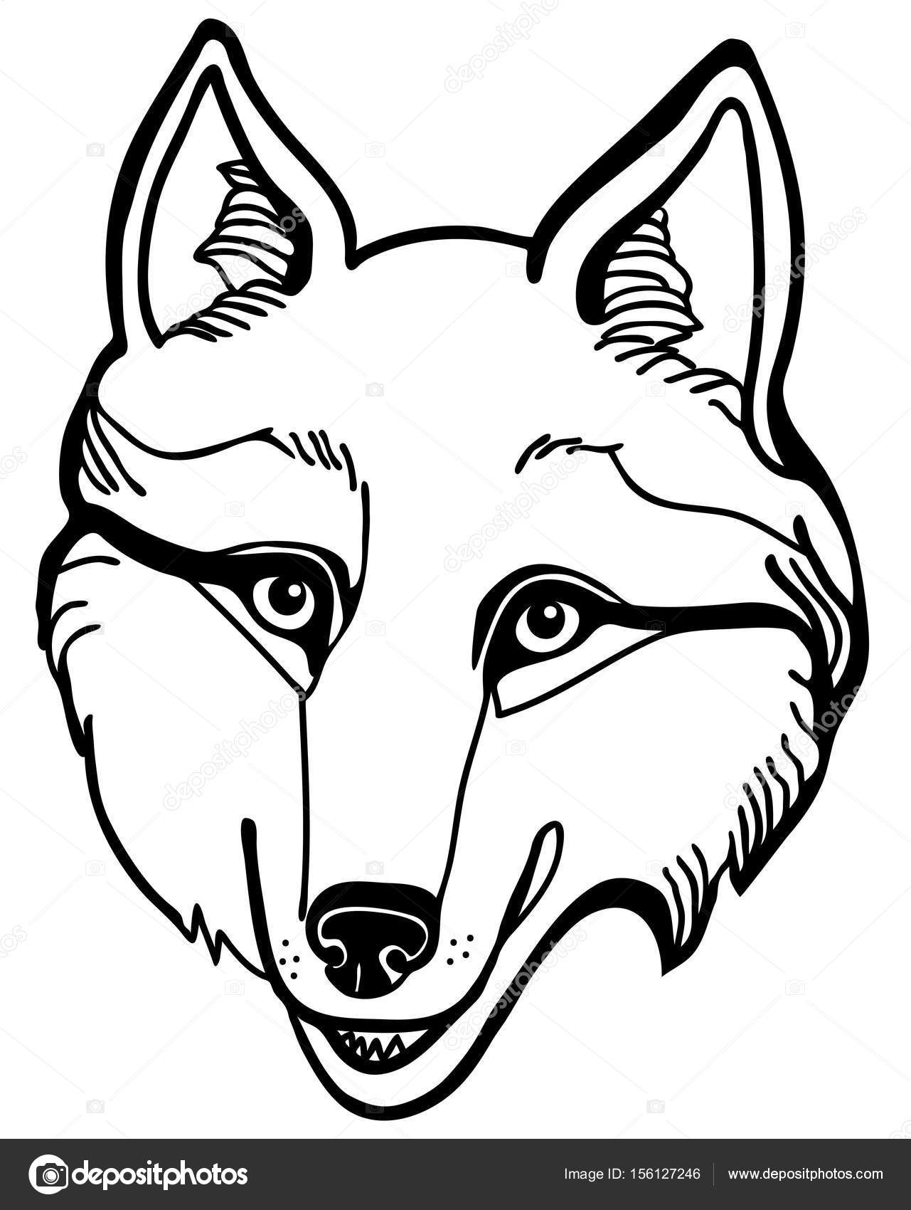 1281x1700 Vector Illustration Of Wolf Husky Head Black And White Stock