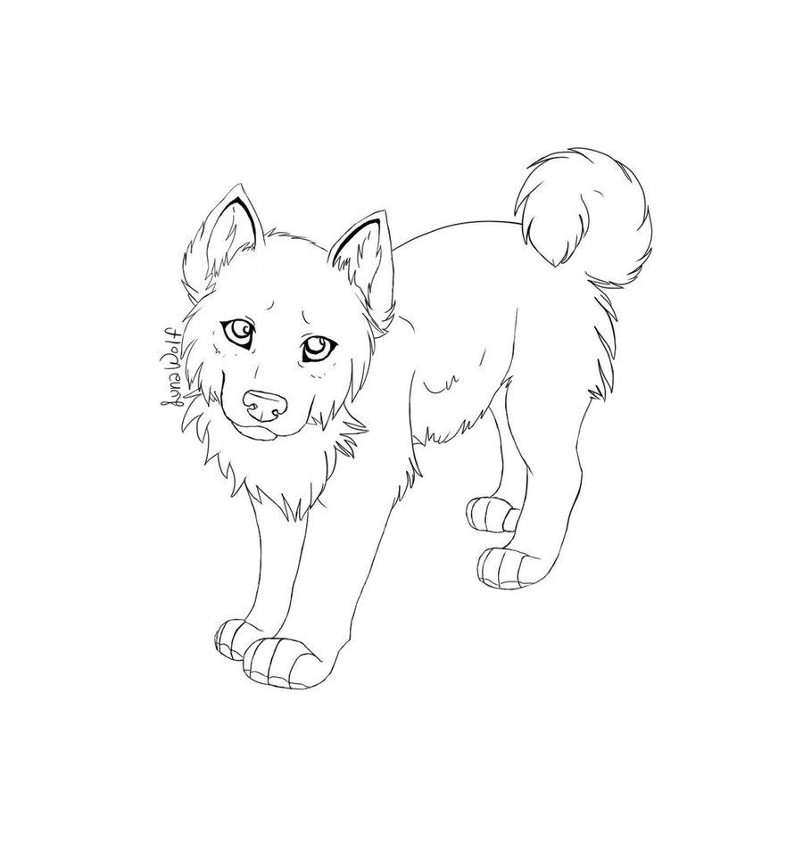 900x943 Free Husky Pup Lineart By Luna Wolf 28