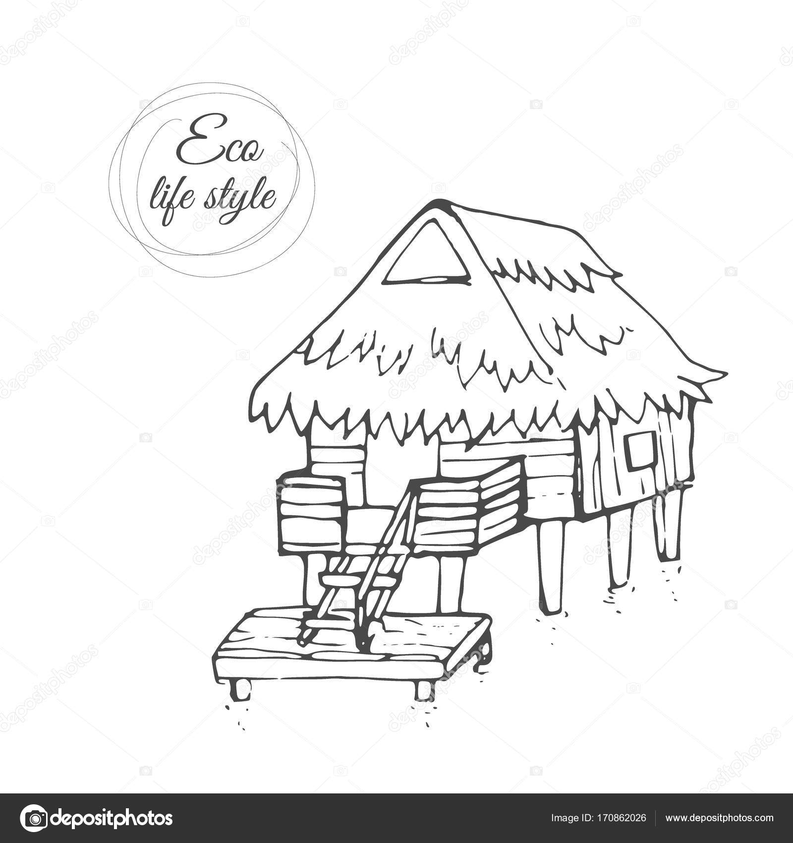 1600x1700 A Wooden House On The Water With A Thatched Roof And A Long