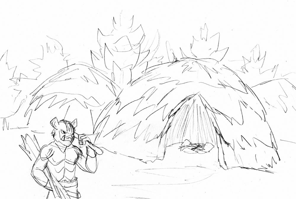 1000x673 Fantasy Sketch Orc Hut By Archicrash