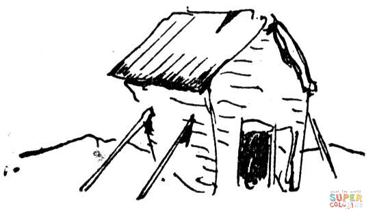 551x326 Old Ruined Hut Coloring Page Free Printable Coloring Pages