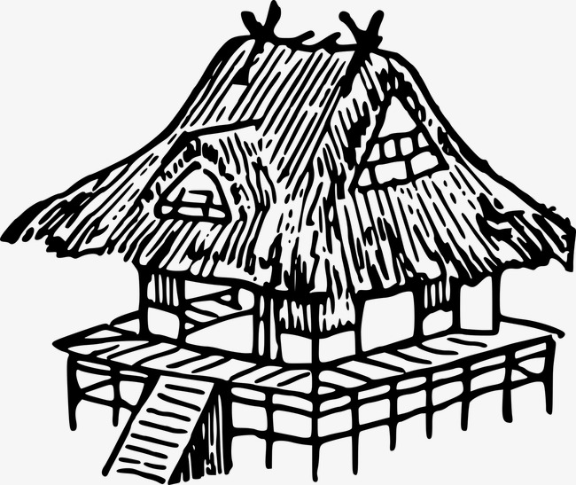 650x547 Thatched Building, Line Drawing, Building, Classical Png Image