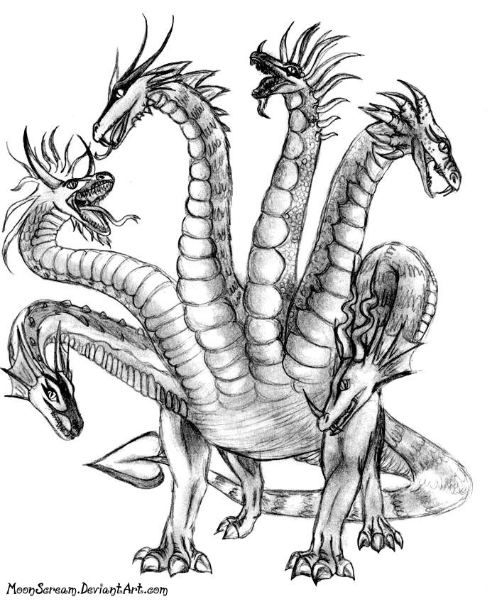 Hydra Dragon Drawing