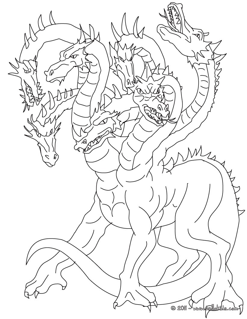 821x1061 Lernean Hydra The 100 Heads Water Dragon Coloring Pages