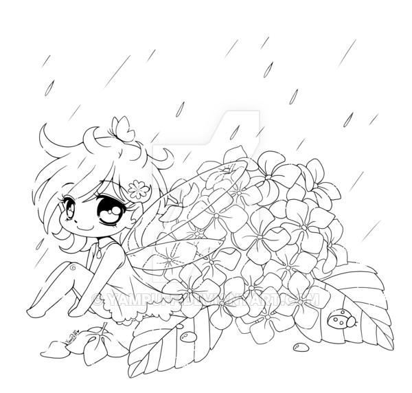 600x572 Hydrangea Fairy Open Lineart By Yampuff