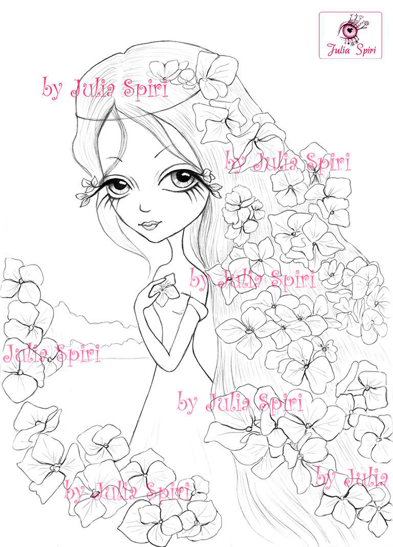 768x1070 Digital Stamps, Digi, Flowers, Girl, Big Eyes, Hydrangeas, Fantasy