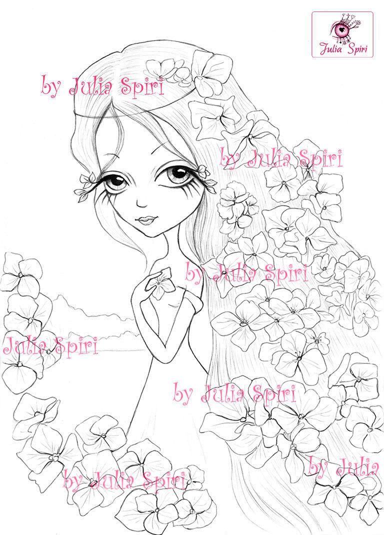 768x1070 Digital Stamps, Digi, Flowers, Girl, Big Eyes, Hydrangeas, Fantasy