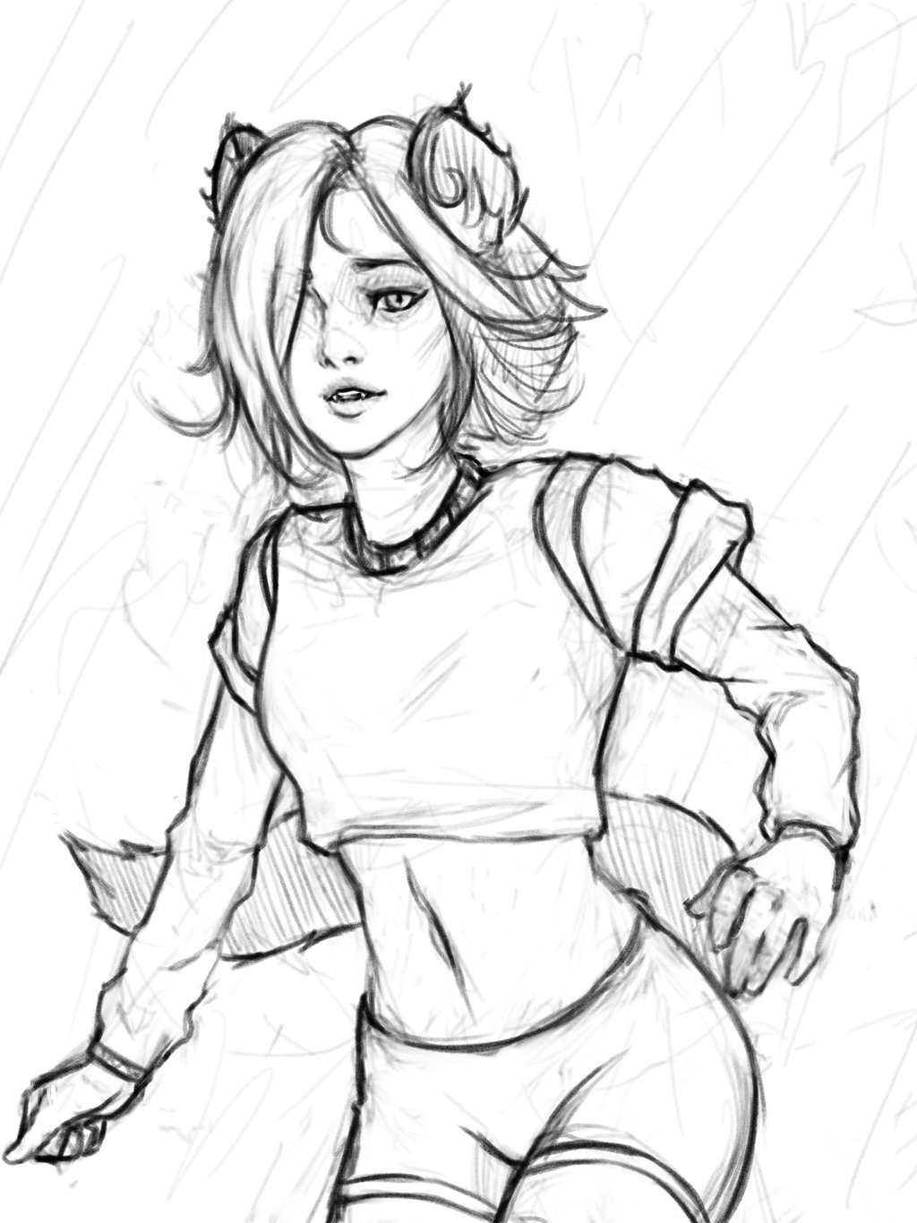 1024x1366 Sketching A Woodlandsy Hyena Girl By Whatneyesore