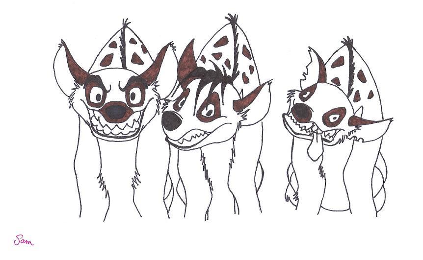 862x531 Three Hyenas Semi Colored. By Belllamuerte