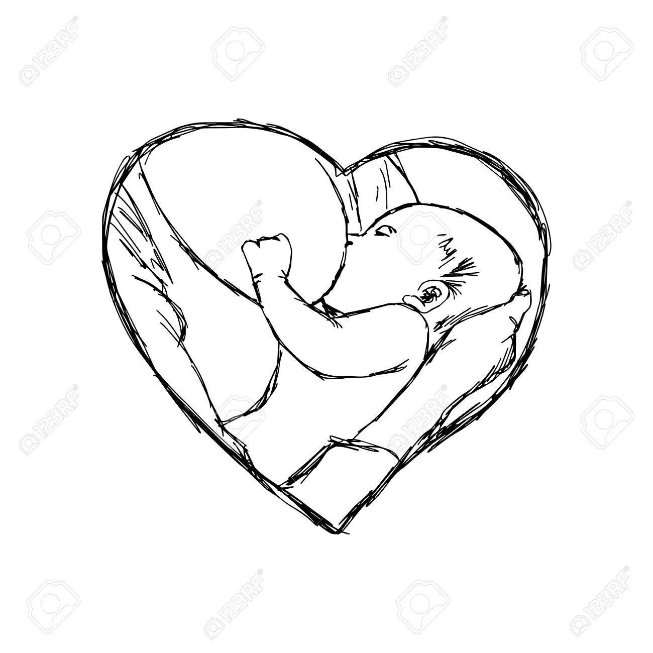 1300x1300 Illustration Doodle Of Sketch Breastfeeding Baby In Heart Shape
