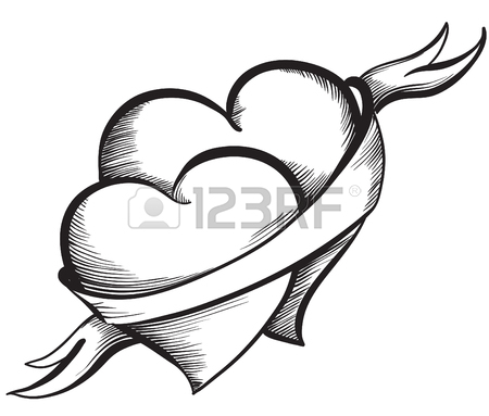 450x383 Valentine Heart. Key Lock In The Shape Of A Heart. Hand Drawn