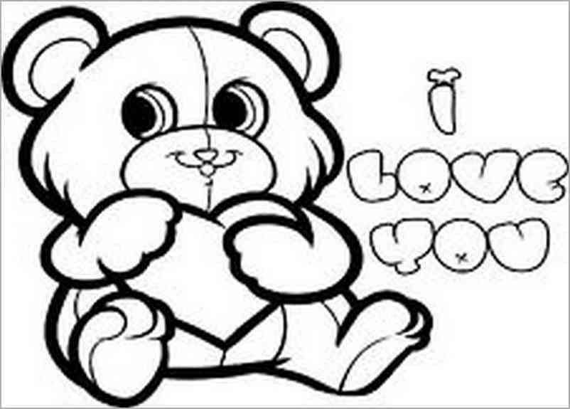 802x575 I Love You Bear Drawing