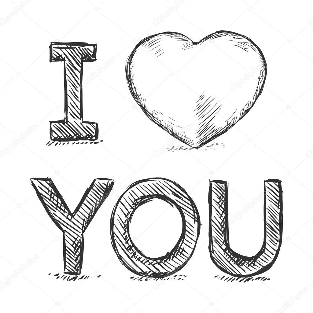 1024x1024 I Love You Sketch Illustration Stock Vector Nikiteev
