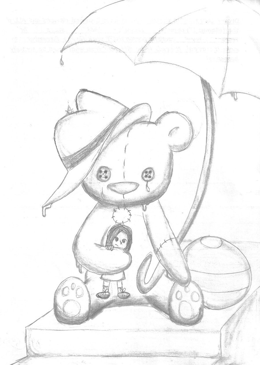 900x1265 Teddy Bear Pencil Sketch Painting I Love You Drawings In Pencil