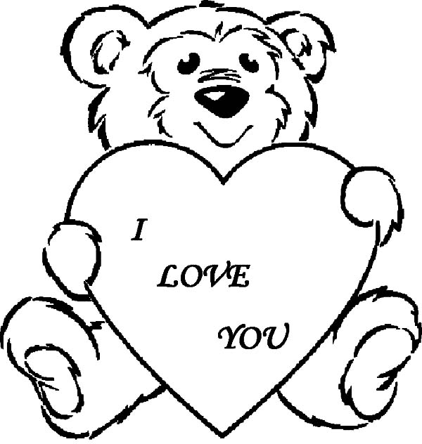 600x632 Fluffy Teddy Bear I Love You Coloring Pages Batch Coloring