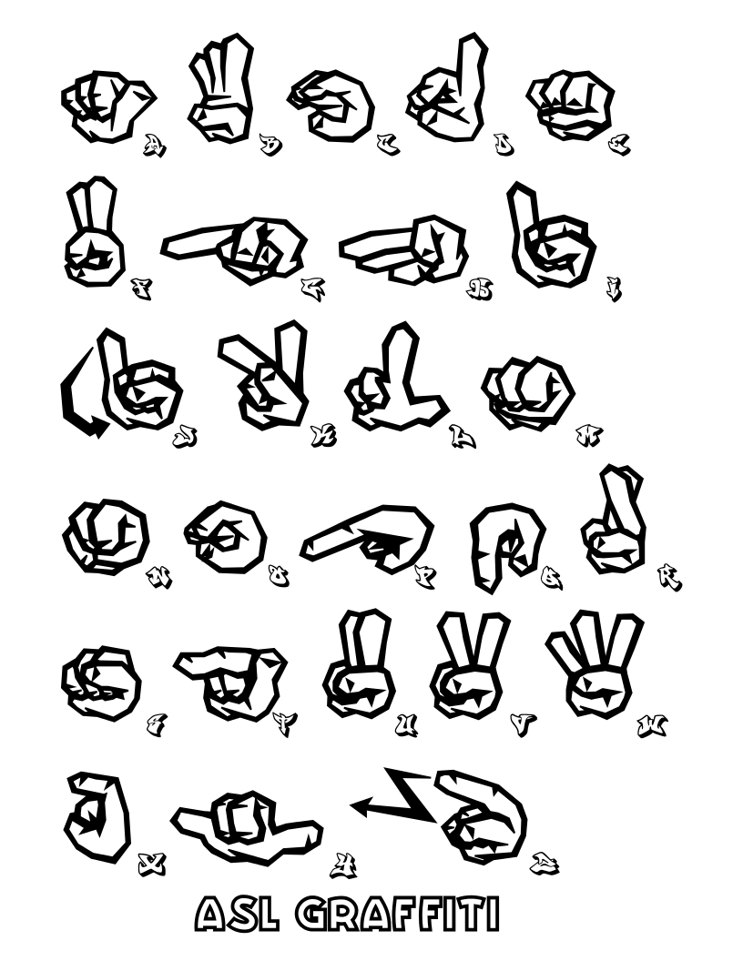816x1056 I Love You Hand American Sign Language Coloring Pages