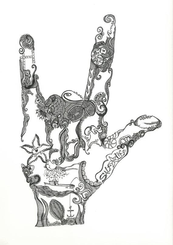 570x806 Items Similar To Custom Sign Language I Love You Hand Doodle Art