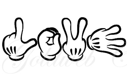 437x291 Love Mickey Mouse Inspired Sign Language Car Vinyl Decal