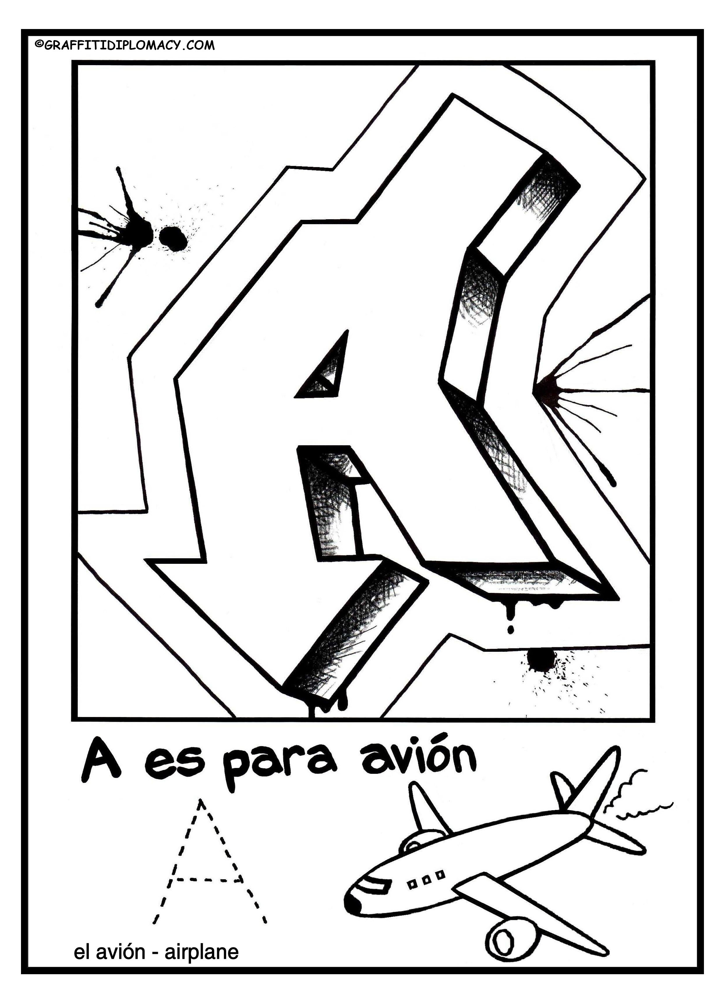 2346x3245 Fun To Color Graffiti Letters To Help Kids Learn The Spanish