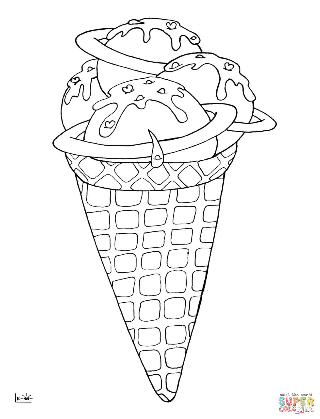 Ice Cream Cone Line Drawing at GetDrawings | Free download