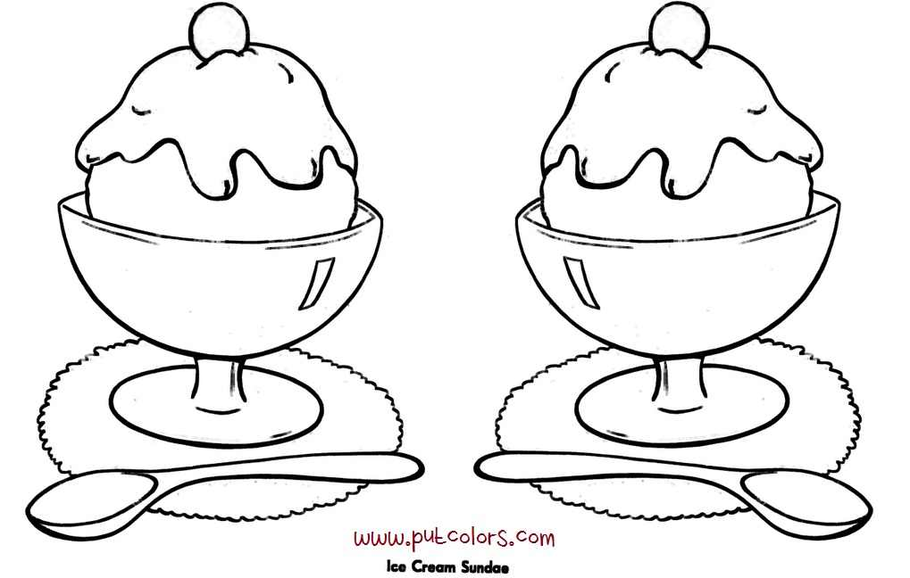 1019x648 Ice Cream Sundae Coloring Page Many Interesting Cliparts
