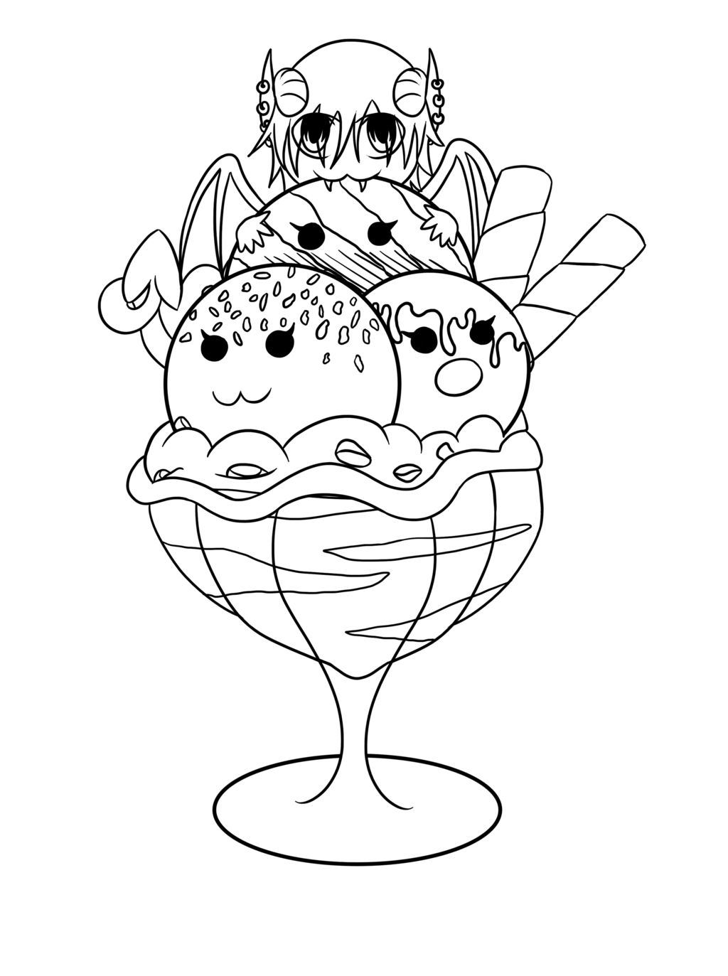 1024x1373 Lucifer Ice Cream Chibi Lineart By Irajiack