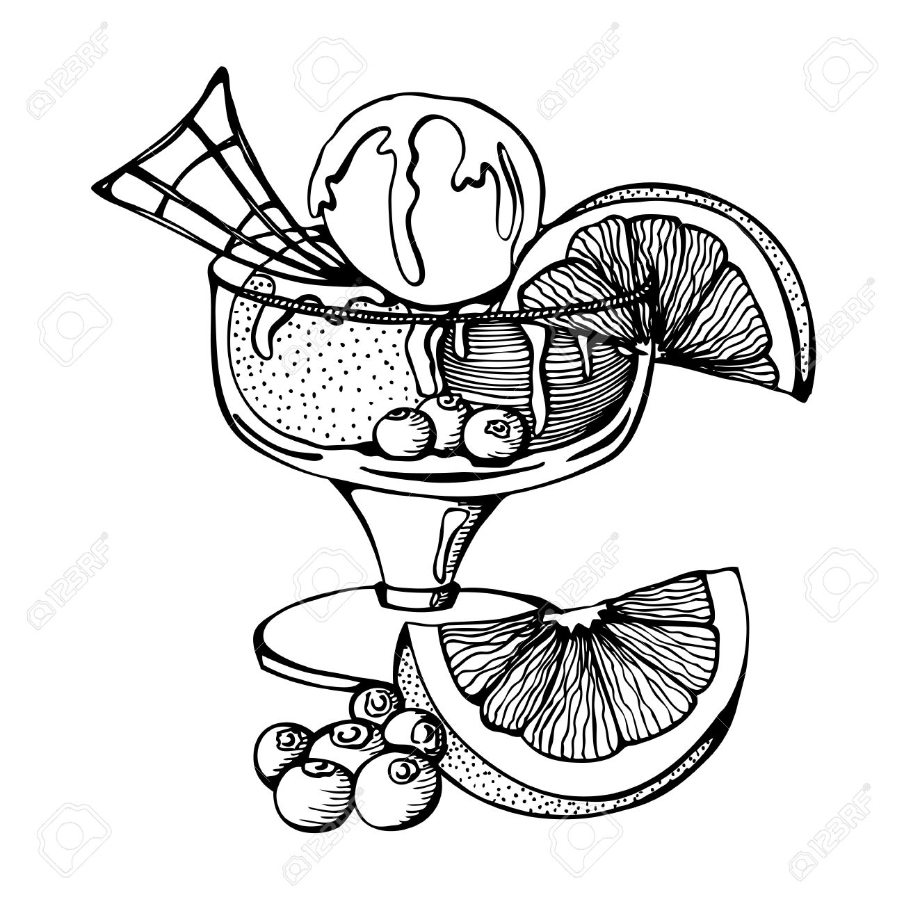 1300x1300 Vector Monochrome Drawing Of Ice Cream With Orange And Berries