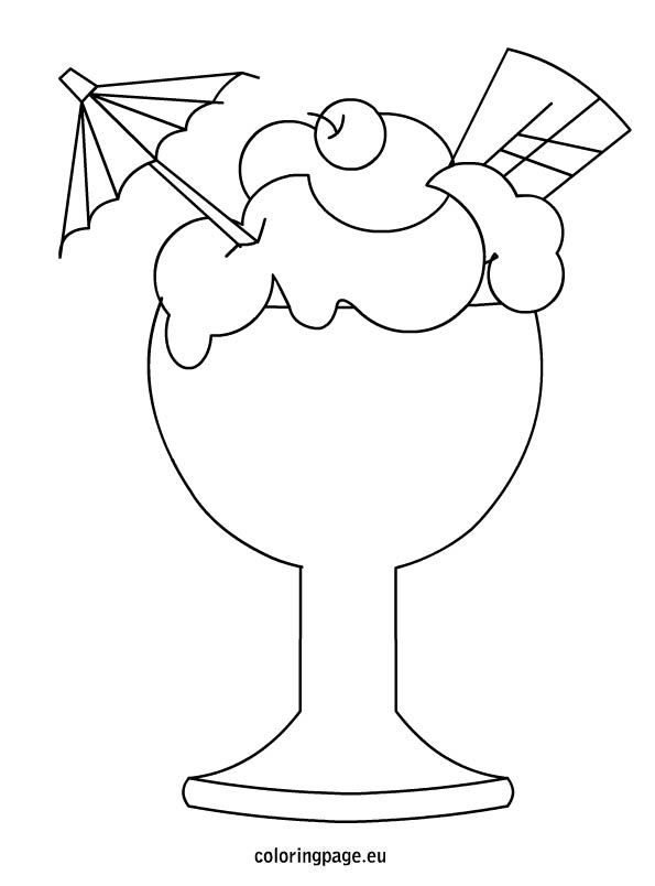 595x804 Ice Cream In A Glass Cup Coloring Page