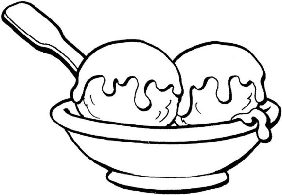 580x401 Coloring Ice Cream Sundae Two Ball Ice Cream Coloring Pages