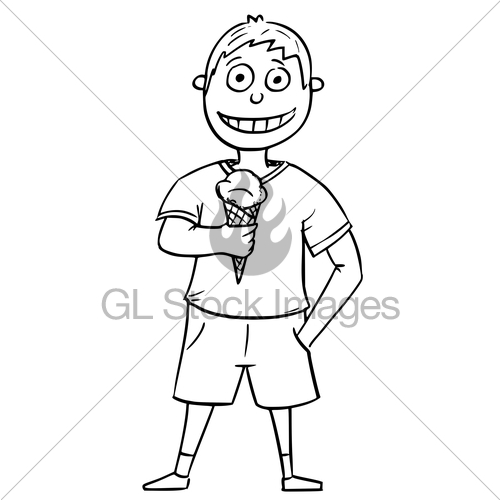 500x500 Cartoon Illustration Of Boy Holding Ice Cream Cone Gl Stock Images