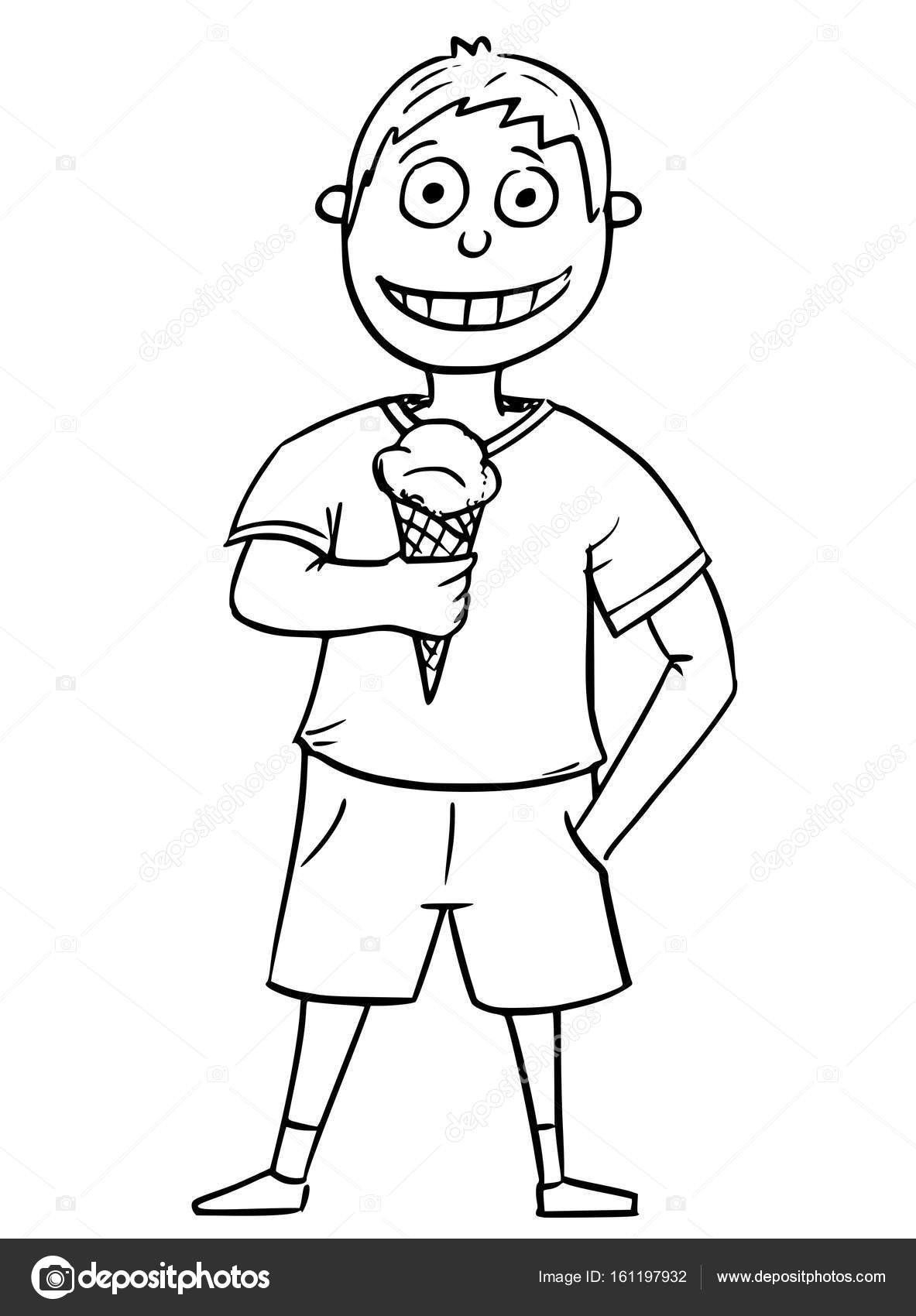 1183x1700 Cartoon Illustration Of Boy Holding Ice Cream Cone Stock Vector