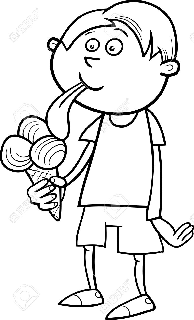 788x1300 Black And White Cartoon Illustration Of Kid Boy Eating Ice Cream