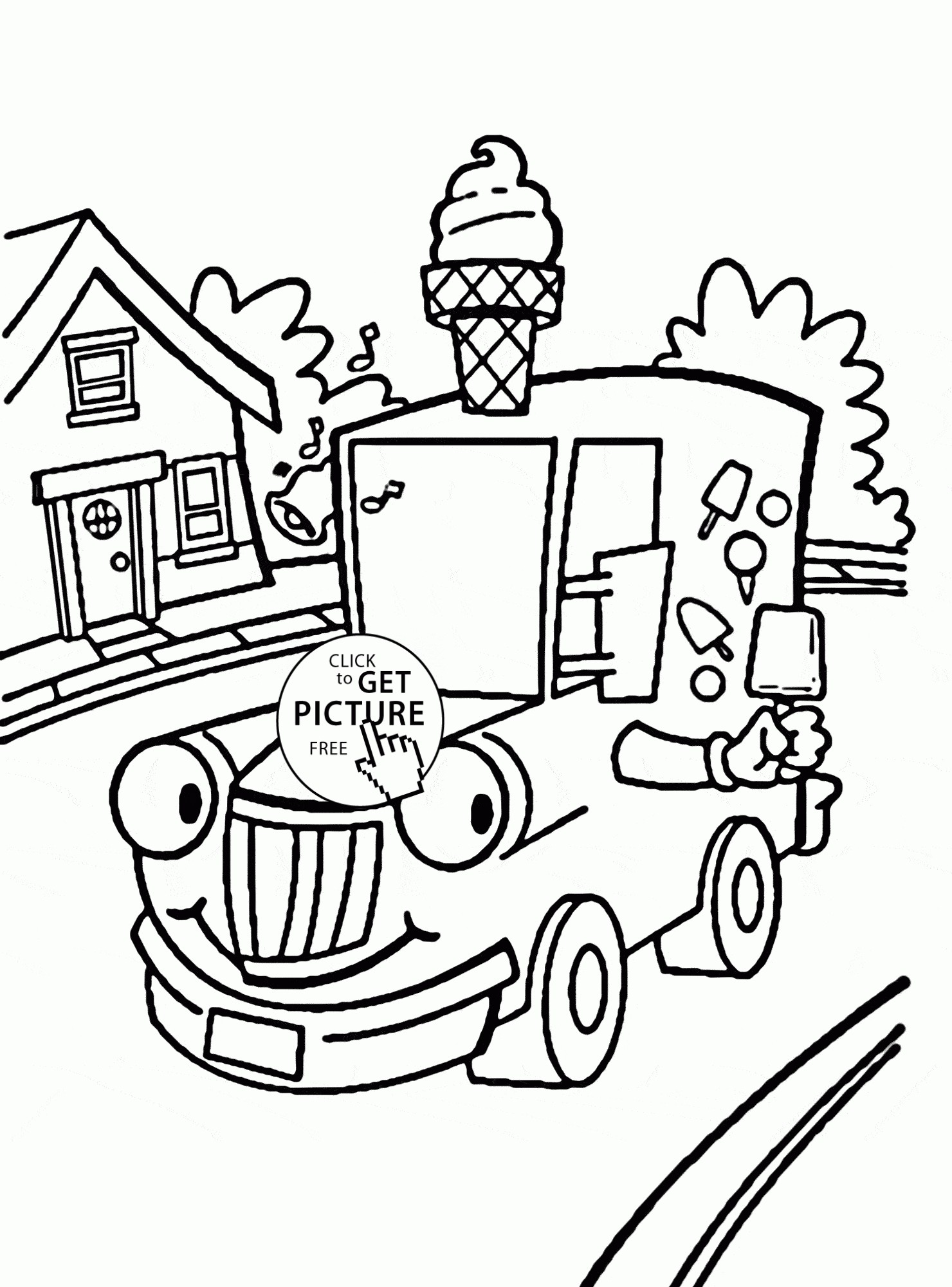 1480x2000 Ice Cream Truck Transportation Coloring Pages For Kids Beautiful