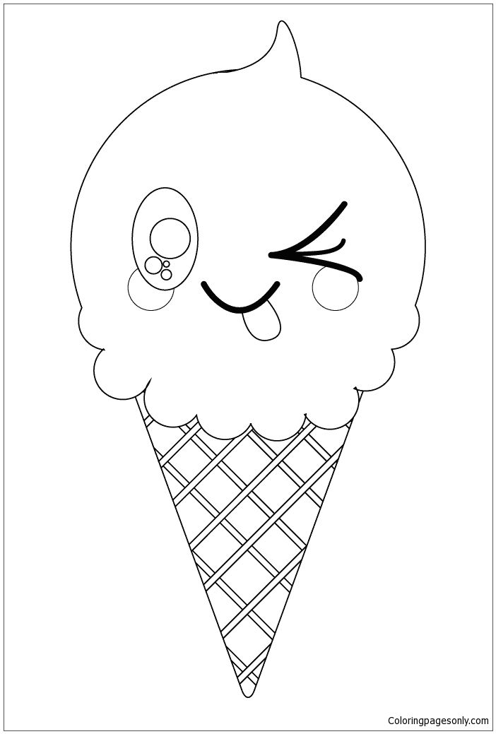 702x1039 Kawaii Ice Cream Cone Coloring Page Food Coloring Pages