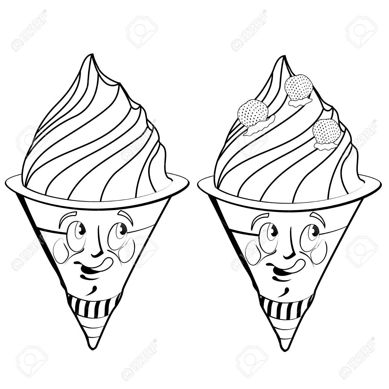 1300x1300 Strawberry Ice Cream Cartoon Drawing Style Black On White Royalty