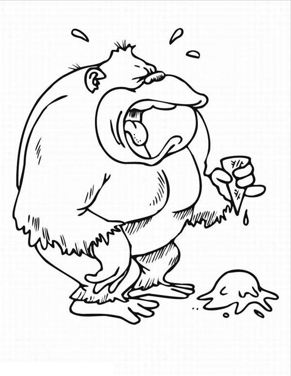 600x775 Gorilla Is Crying For His Ice Cream Coloring Page