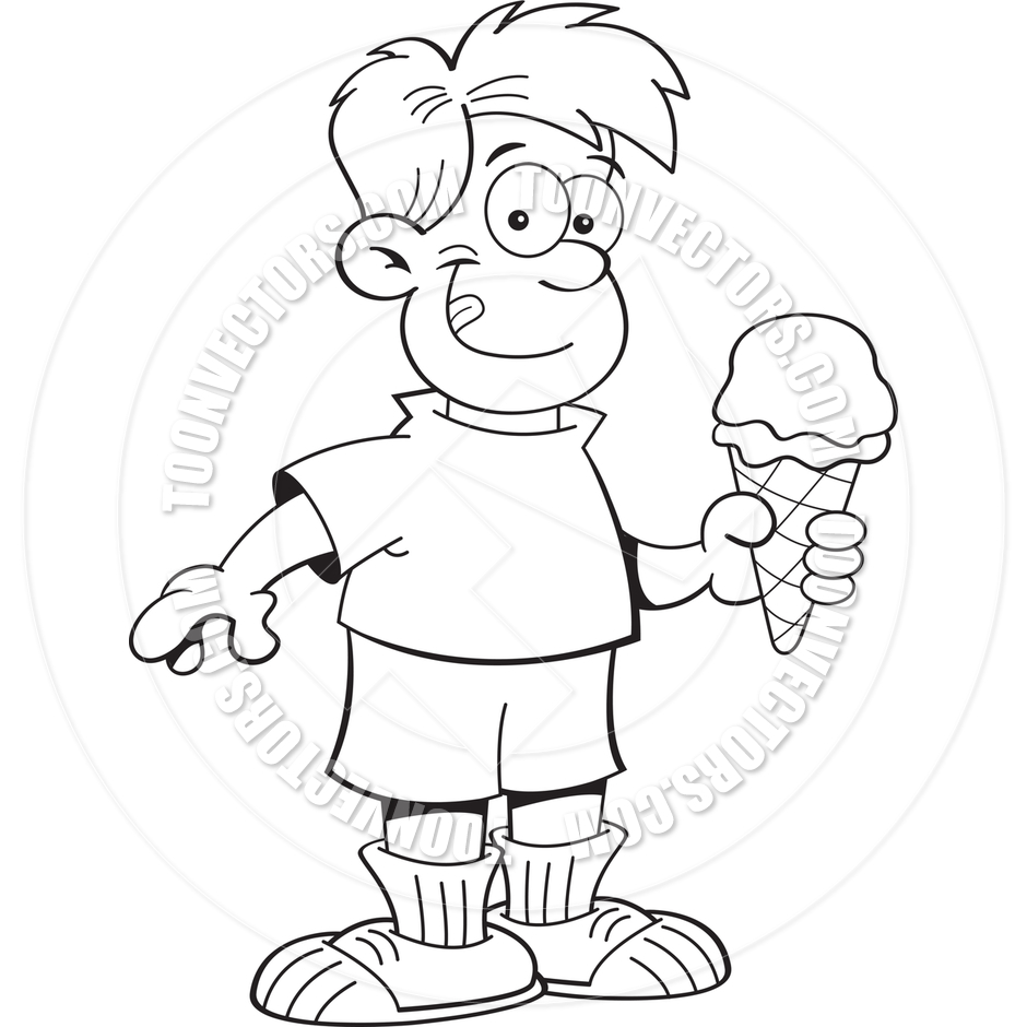 940x940 Cartoon Boy Eating An Ice Cream Cone (Black And White Line Art) By